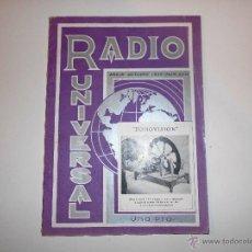 Radios antiguas: RADIO UNIVERSAL. AÑO III. OCTUBRE 1935. Nº XXVI - FONOVISIÓN - (VER INDICE). Lote 54804404