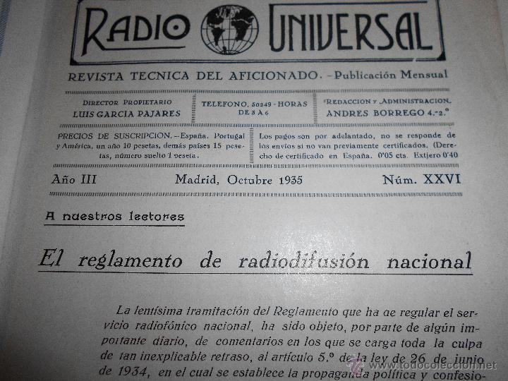 Radios antiguas: RADIO UNIVERSAL. AÑO III. OCTUBRE 1935. Nº XXVI - FONOVISIÓN - (VER INDICE) - Foto 2 - 54804404