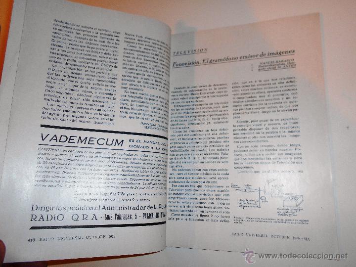 Radios antiguas: RADIO UNIVERSAL. AÑO III. OCTUBRE 1935. Nº XXVI - FONOVISIÓN - (VER INDICE) - Foto 3 - 54804404