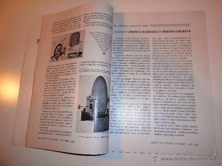 Radios antiguas: RADIO UNIVERSAL. AÑO III. OCTUBRE 1935. Nº XXVI - FONOVISIÓN - (VER INDICE) - Foto 7 - 54804404