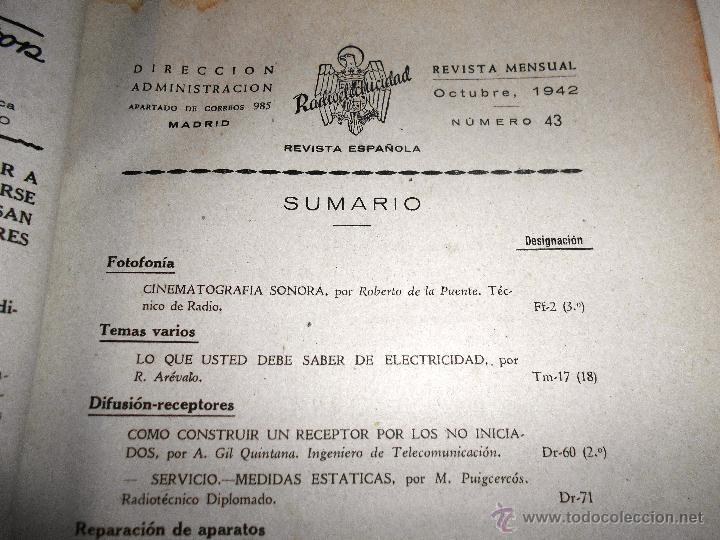 Radios antiguas: RADIOELECTRICIDAD Nº 43 REVISTA DE RADIO. OCTUBRE, 1952 (VER INDICE) - Foto 3 - 54804463