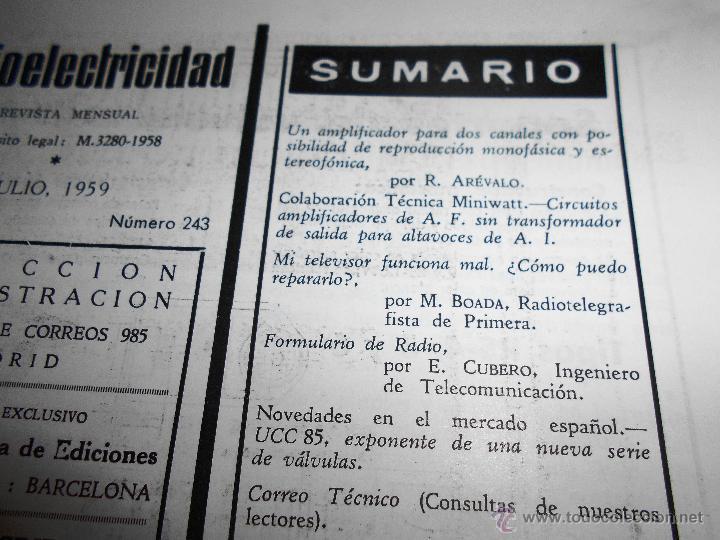 Radios antiguas: RADIOELECTRICIDAD Nº 243 REVISTA DE RADIO. JULIO, 1959 (VER INDICE) - Foto 3 - 54804493