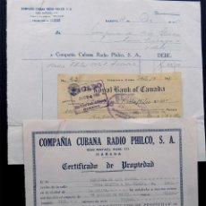 Radios antiguas: CERTIFICADO PROPIEDAD RADIO - FACTURA Y CHEQUE / COMPAÑIA CUBA RADIO PHILCO / LA HABANA 1951. Lote 55909183