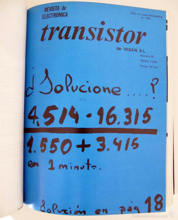 Radios antiguas: TOMO CON AÑO 1976 COMPLETO DE LA REVISTA TRANSISTOR - 12 REVISTAS ENCUADERNADOS EN ESTADO MUY BUENO - Foto 5 - 55968574