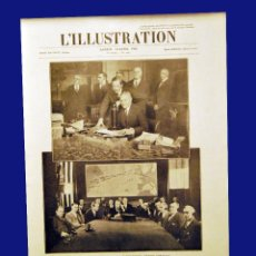 Radios antiguas: CARTEL ORIGINAL DEL AÑO 1928 - PREMIÉRE LIAISON RADIOTÉLÉPHONIQUE FRANCE - AMÉRIQUE - 30 X 40 CM. Lote 56886045