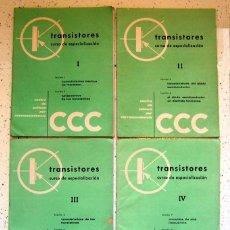 Radios antiguas: LOTE X 4 . FASCICULO CURSO DE ESPECIALIZACION -TRANSISTORES- CAPITULOS 1 AL 4 . CCC . AÑO 1961. Lote 57018481