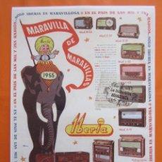Radios antiguas: LAMINA REPRODUCCION ANTIGUA PUBLICIDAD 32 X 45 CM - GAMA RADIO IBERIA AÑO 1955. Lote 211602652