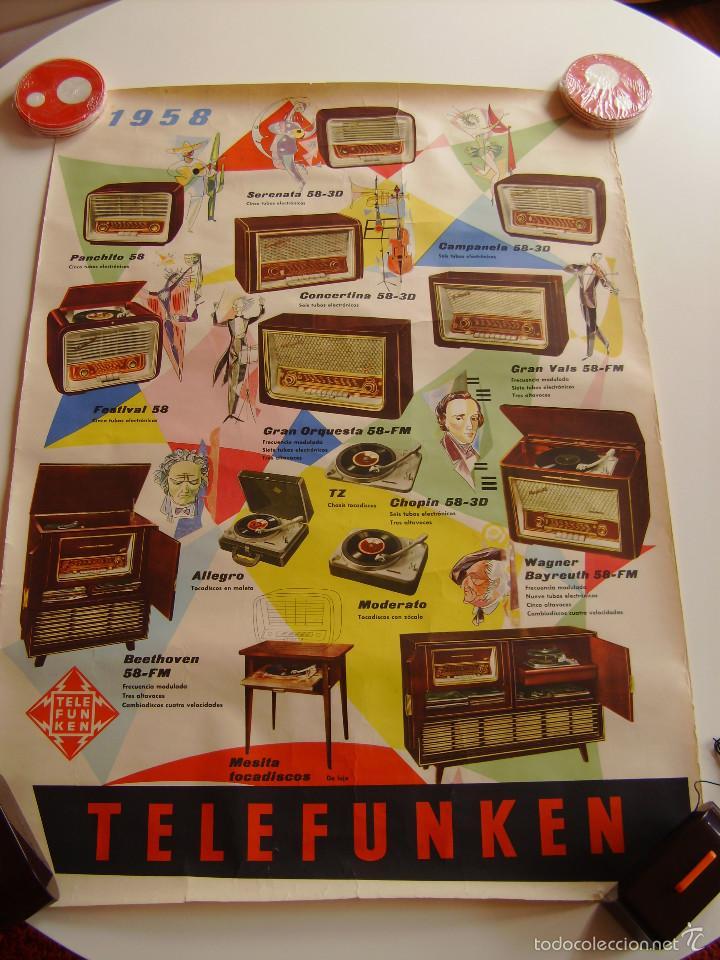 CARTEL, POSTER RADIO TELEFUNKEN AÑO 1958 A TODO COLOR (Radios, Gramófonos, Grabadoras y Otros - Catálogos, Publicidad y Libros de Radio)