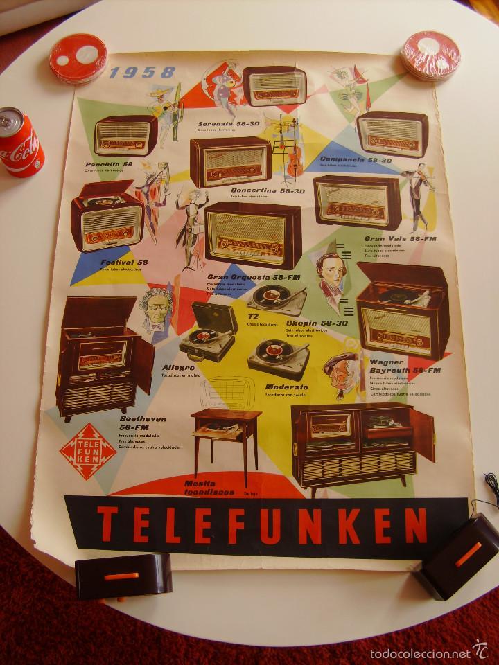 Radios antiguas: Cartel, poster radio Telefunken año 1958 a todo color - Foto 4 - 58251248