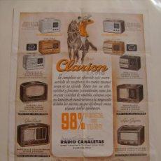 Radios antiguas: CARTEL, POSTER RADIO CLARION AÑOS 40. Lote 58251414