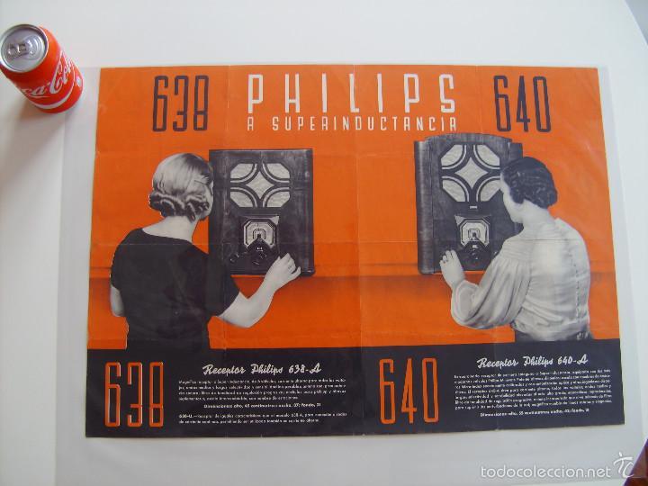 CARTEL, POSTER RADIO PHILIPS AÑOS 30 (Radios, Gramófonos, Grabadoras y Otros - Catálogos, Publicidad y Libros de Radio)