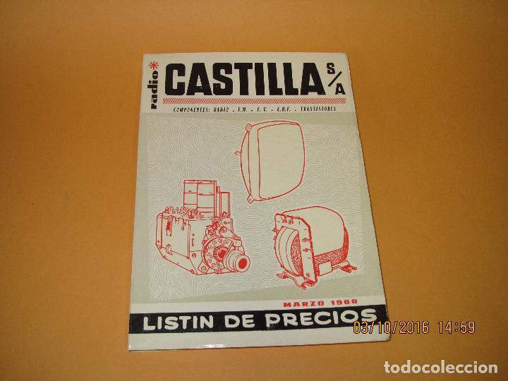 CATÁLOGO LISTÍN DE PRECIOS COMPONENTES: RADIO FM T.V. U.H.F. TRANSISTORES *RADIO CASTILLA* AÑO 1966 (Radios, Gramófonos, Grabadoras y Otros - Catálogos, Publicidad y Libros de Radio)