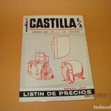 Radios antiguas: CATÁLOGO LISTÍN DE PRECIOS COMPONENTES: RADIO FM T.V. U.H.F. TRANSISTORES *RADIO CASTILLA* AÑO 1966. Lote 62221860