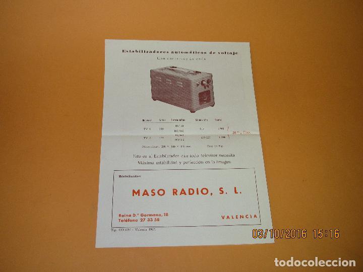 Radios antiguas: Antiguos Folletos Catalogo Tarifa de Precios de *RADIO MASO* de Valencia Año 1961-62 - Foto 4 - 62222980
