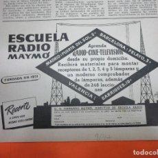Radios antiguas: PUBLICIDAD 1947 - COLECCION ELECTRONICA - ESCUELA DE RADIO MAYMO. Lote 62668744