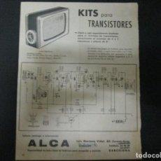 Radios antiguas: PUBLICIDAD DE LABORATORIOS WALD Y ESQUEMA KIT TRANSISTORES DE LA CASA ALCA. Lote 63129104