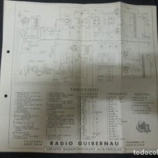 Radios antiguas: CIRCUITO RADIOFONOGRAFO ALTA FIDELIDAD RADIO GUIBERNAU . Lote 64928587