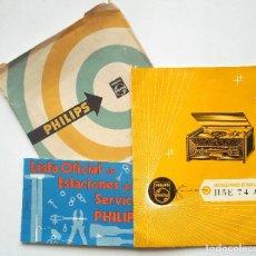 Radios antiguas: CATÁLOGO INSTRUCCIONES DEL TOCADISCO RADIO PHILIPS H5E 74ª + LISTA ESTACIONES SERVICIO. Lote 68449149