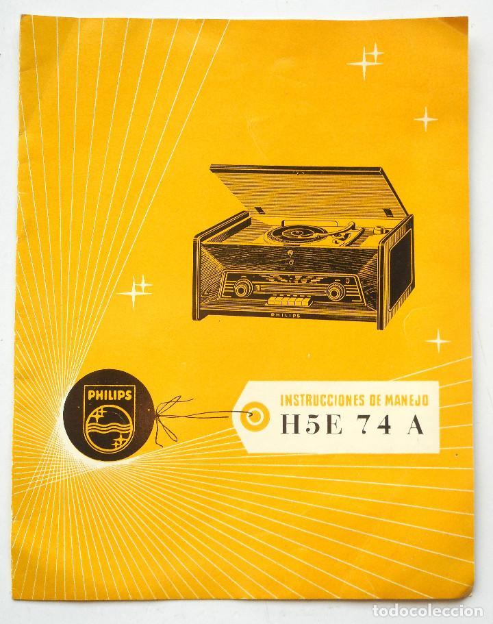 Radios antiguas: CATÁLOGO INSTRUCCIONES DEL TOCADISCO RADIO PHILIPS H5E 74ª + LISTA ESTACIONES SERVICIO - Foto 2 - 68449149