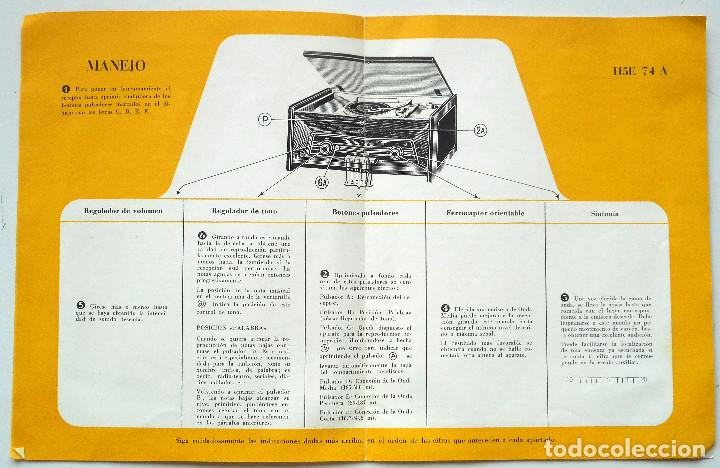 Radios antiguas: CATÁLOGO INSTRUCCIONES DEL TOCADISCO RADIO PHILIPS H5E 74ª + LISTA ESTACIONES SERVICIO - Foto 3 - 68449149