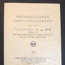 Radios antiguas: MANUAL DE INSTRUCCIONES DEL TOCADISCOS RCA MODELO QEY5 Y MODELO QJY2. Lote 69020569