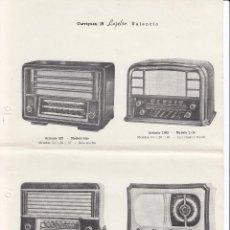 Radios antiguas: HOJA PROPAGANDA RADIOS. 8 MODELOS. CASA LUZELSO VALENCIA. AÑOS 50. Lote 69419833