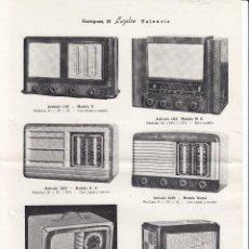 Radios antiguas: HOJA PROPAGANDA RADIOS. 6 MODELOS. CASA LUZELSO VALENCIA. AÑOS 50. Lote 69420725