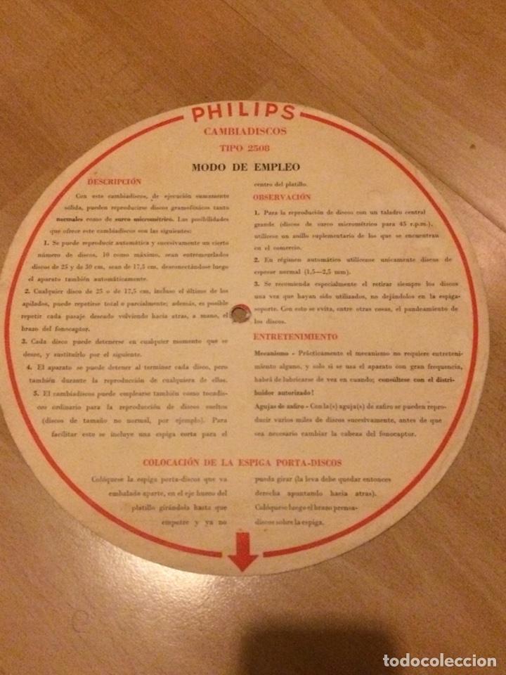 Radios antiguas: Instrucciones cambiadiscos tocadiscos philips 2508 - Foto 2 - 69776809