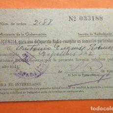 Radios antiguas: LICENCIA RADIO RECEPTOR 1943 MINISTERIO DE LA GOBERNACION BARCELONA. Lote 70447093