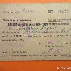 Radios antiguas: LICENCIA RADIO RECEPTOR 1941 MINISTERIO DE LA GOBERNACION BARCELONA. Lote 70447117