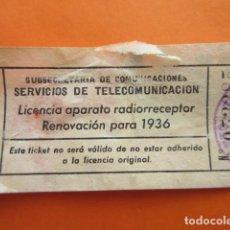 Radios antiguas: LICENCIA RADIO RECEPTOR 1936 SUBSECRETARIA TELECOMUNICACION BARCELONA. Lote 70447365