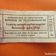 Radios antiguas: LICENCIA RADIO RECEPTOR 1937 SUBSECRETARIA TELECOMUNICACION BARCELONA. Lote 70447477