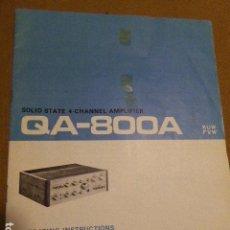 Radios antiguas: MANUAL DE INSTRUCCIONES. PIONNER. AMPLIFICADOR QA-800A. EN INGLES. 16 PP. ILUSTRADO.. Lote 74924251