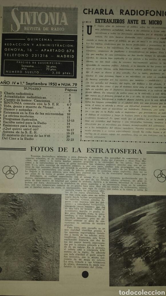 Radios antiguas: REVISTA DE RADIO SINTONIA 1SPBRE 1950. AÑO IV N°79- GRETA GYNT ( autógrafo)- CARMEN SEVILLA - Foto 2 - 76603597