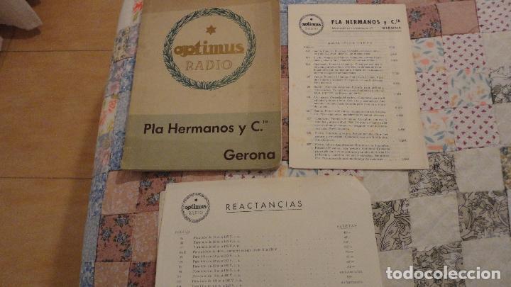 OPTIMUS RADIO.PLA HERMANOS Y CIA.GERONA.AMPLIFICADORES.ALTAVOCES.BOBINAS ETC.AÑOS 40 (Radios, Gramófonos, Grabadoras y Otros - Catálogos, Publicidad y Libros de Radio)