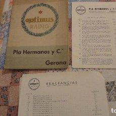 Radios antiguas: OPTIMUS RADIO.PLA HERMANOS Y CIA.GERONA.AMPLIFICADORES.ALTAVOCES.BOBINAS ETC.AÑOS 40. Lote 79581893