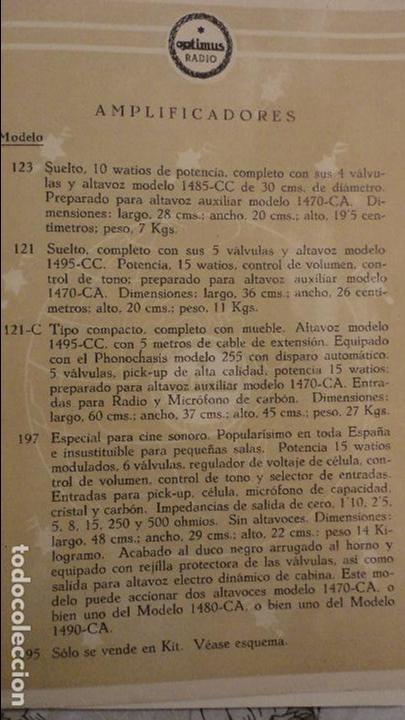 Radios antiguas: OPTIMUS RADIO.PLA HERMANOS Y Cia.GERONA.AMPLIFICADORES.ALTAVOCES.BOBINAS ETC.AÑOS 40 - Foto 4 - 79581893