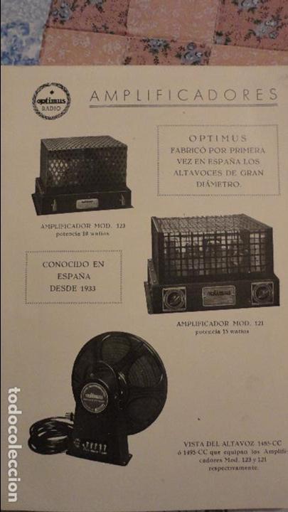 Radios antiguas: OPTIMUS RADIO.PLA HERMANOS Y Cia.GERONA.AMPLIFICADORES.ALTAVOCES.BOBINAS ETC.AÑOS 40 - Foto 5 - 79581893