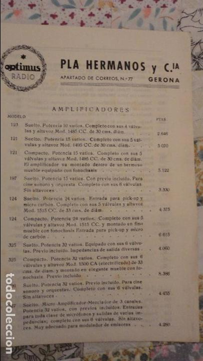Radios antiguas: OPTIMUS RADIO.PLA HERMANOS Y Cia.GERONA.AMPLIFICADORES.ALTAVOCES.BOBINAS ETC.AÑOS 40 - Foto 21 - 79581893