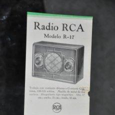 Radios antiguas: FOLLETO ANTIGUO DE RADIO RCA HEREDEROS DE J. ALONSO , MALAGA . Lote 81627056