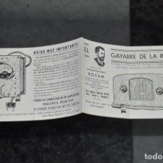 Radios antiguas: FOLLETO ANTIGUO DE RADIO ROYAM , GAYARRE DE LA RADIO . Lote 81627216