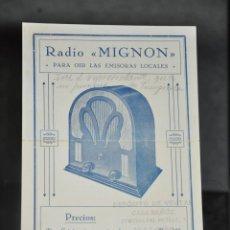 Radios antiguas: FOLLETO ANTIGUO DE RADIO MIGNON , MALAGA . Lote 81627412