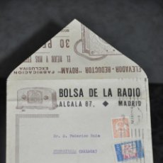 Radios antiguas: SOBRE FOLLETO DE BOLSA DE LA RADIO , MADRID RADIO ACCESORIOS ROYAM . Lote 81628104