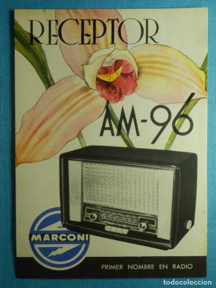 CATÁLOGO - PUBLICIDAD - CARACTERÍSTICAS TÉCNICAS APARATO DE RADIO - RECEPTOR MARCONI AM-96 - (Radios, Gramófonos, Grabadoras y Otros - Catálogos, Publicidad y Libros de Radio)