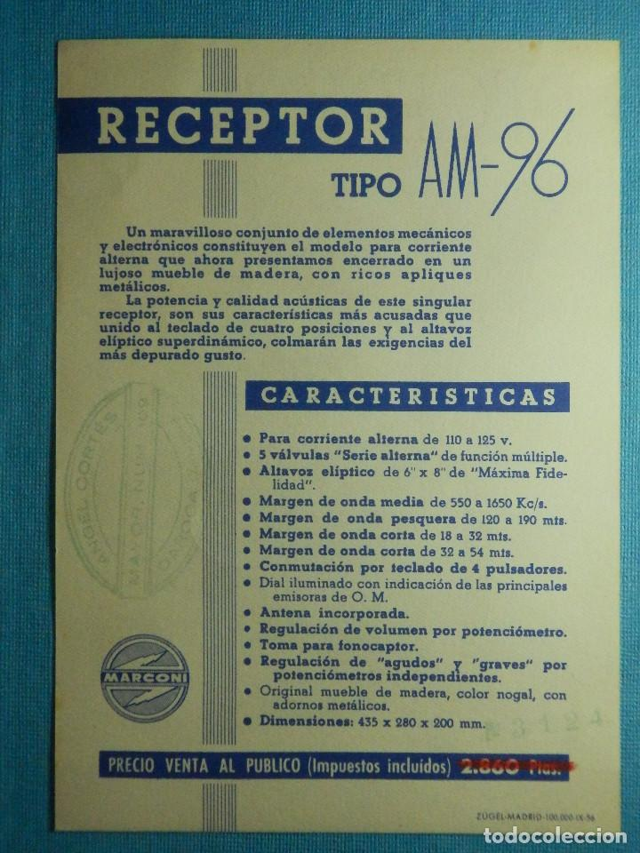 Radios antiguas: Catálogo - Publicidad - Características técnicas aparato de Radio - Receptor Marconi AM-96 - - Foto 2 - 83430884