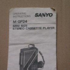 Radios antiguas: MANUAL DE INSTRUCCIONES DE 1 HOJA , STEREO CASETTE PLAYER SANYO M GP24 . AÑOS 80/90. Lote 83961980