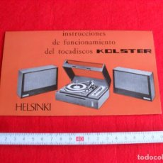Radios antiguas: INSTRUCCIONES TOCADISCOS KOLSTER MODELO HELSINKI. Lote 87602884