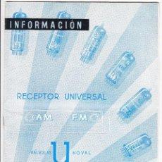 Radios antiguas: INFORMACION VALVULAS U NOVAL - AM FM - RADIO GUIBERNAU - COPRESA-MINIWATT. Lote 91043935