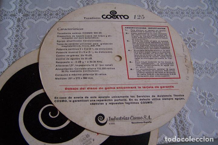 Radios antiguas: INSTRUCCIONES DE TOCADISCOS COSMO STEREO 125. DOS CARTONES CIRCULARES QUE IBAN A MODO DE DISCO. - Foto 3 - 91299790