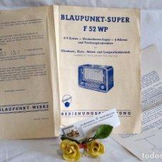 Radios antiguas: BLAUPUNKT-SUPER F 52 WP.- ANTIGUO FOLLETO PUBLICITARIO DE RADIO . Lote 91858360